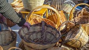 Handmade baskets. Royalty Free Stock Photo