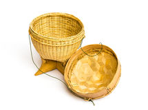 Handmade basketwork statue isolated on white background Royalty Free Stock Photos