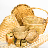 Handmade basketwork statue isolated on white background Royalty Free Stock Photography