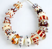 Handmade beads, lampwork beads Stock Photos