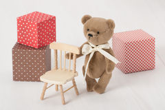 Handmade Bear Soft Toy. Traditional Teddy Style Stock Photos