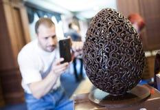 Handmade big chocolate egg Stock Image