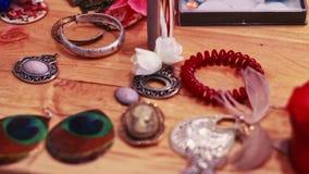 Handmade Bijou on table stock video