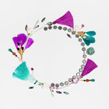 Handmade bijouterie garland with gems and feathers Royalty Free Stock Photography