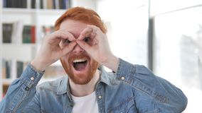 Handmade Binocular, Casual Redhead Man Searching New Opportunity. 4k high quality, 4k high quality stock video