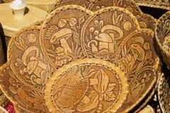Handmade of birch bark manuscripts and environmental tableware made of wood Stock Photo