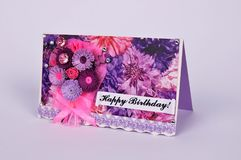 Handmade birthday greetings card in quilling technique. Great birthday gift royalty free stock image