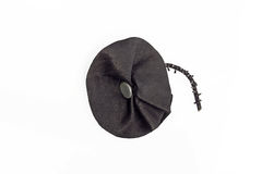 Handmade black leather brooch Stock Photo