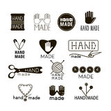 Handmade black and  thin line icons  on white. Set of hand made labels, badges and logos for design. Handmade workshop logo set. Vector illustration Stock Image