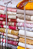 Handmade blankets pile Royalty Free Stock Images