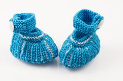 Handmade Blue Baby Mufflers Royalty Free Stock Photography