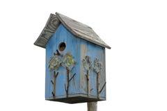 Handmade Blue Birdhouse Isolated On White Stock Photo