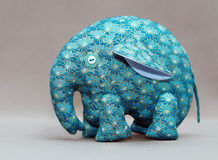 Handmade blue elephant. With buttons for eyes Royalty Free Stock Photos