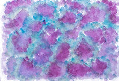 Handmade blue and purple watercolor abstract Royalty Free Stock Photos