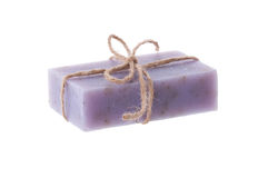 Handmade blueberry soap on white background Royalty Free Stock Photo
