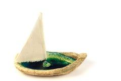 Handmade boat. Handmade ceramic little vintage boat Stock Image