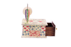 Handmade box decorated. Royalty Free Stock Image