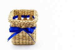 Handmade box made from dry water hyacinth decoration. Royalty Free Stock Photo