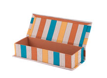 Handmade boxes with art materials for decor. Royalty Free Stock Photos