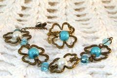Handmade Bracelet and earrings Stock Photo