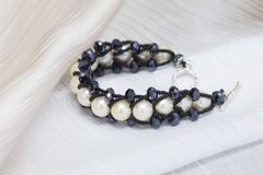 Handmade bracelet with large pearls Royalty Free Stock Photo