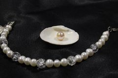 Handmade bracelet with river white pearls and a pearl in the shell on a black background. stock photos
