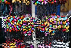Handmade bracelet on sale in Malioboro Street. Yogyakarta, Indonesia Stock Photo