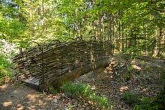 Handmade bridge of willow tree branches in asiatic zen style. Stock Image