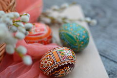 Handmade, brown, Easter egg on paper. On foreground Stock Photos