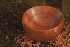 Handmade Bubinga Wood Bowl Royalty Free Stock Photography