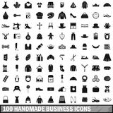 100 handmade business icons set, simple style Stock Photos
