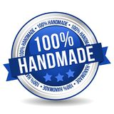 100% Handmade Button - Online Badge Marketing Banner with Ribbon. Eps10 Vector stock illustration