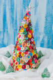 Handmade Button and Pin Christmas Tree Stock Photo