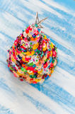Handmade Button and Pin Christmas Tree Stock Images