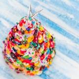 Handmade Button and Pin Christmas Tree Stock Photography