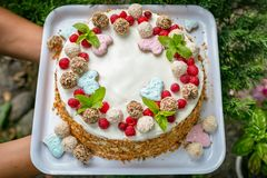 Really Handmade cake with cream, candy's, leaves, hearts, coconuts royalty free stock images