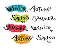 Seasons hand lettering Stock Images