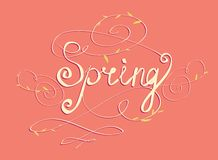Handmade calligraphy SPRING Stock Images