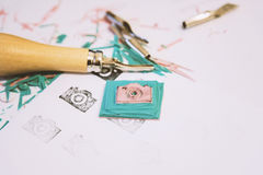 Handmade camera icon stamp. Image of hand made stamp of a camera icon stock photography