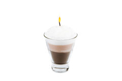 Handmade candle in the form of Irish Coffee Cup with coffee and Stock Photos