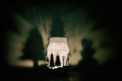 Handmade candle holder with shadows Stock Image