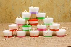 Handmade candles in the shape of a cylinder. Decorative Handmade candles in the shape of a cylinder Stock Images
