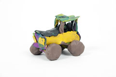 Handmade car from plasticine, Children toy. Isolated on white background Royalty Free Stock Photos