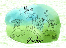 Handmade card with lettering inscription did you are my anchor Stock Photography