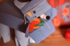 Handmade cardboard blue bull Stock Photos