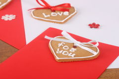 Handmade cards with cakes for Valentine's Day Stock Images