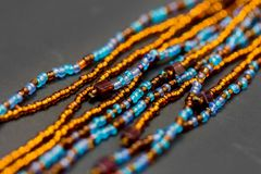 Colorful strands of beads as background royalty free stock images