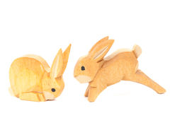Handmade carved easter bunnies Stock Images
