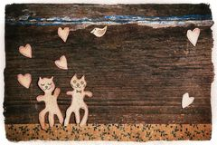 Handmade cats as lovers. Valentines day card with handmade cats as lovers Royalty Free Stock Photos