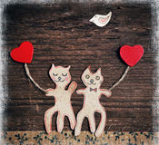 Handmade cats as lovers Royalty Free Stock Images